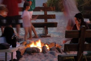Roasting Smores Before a Movie on the Beach